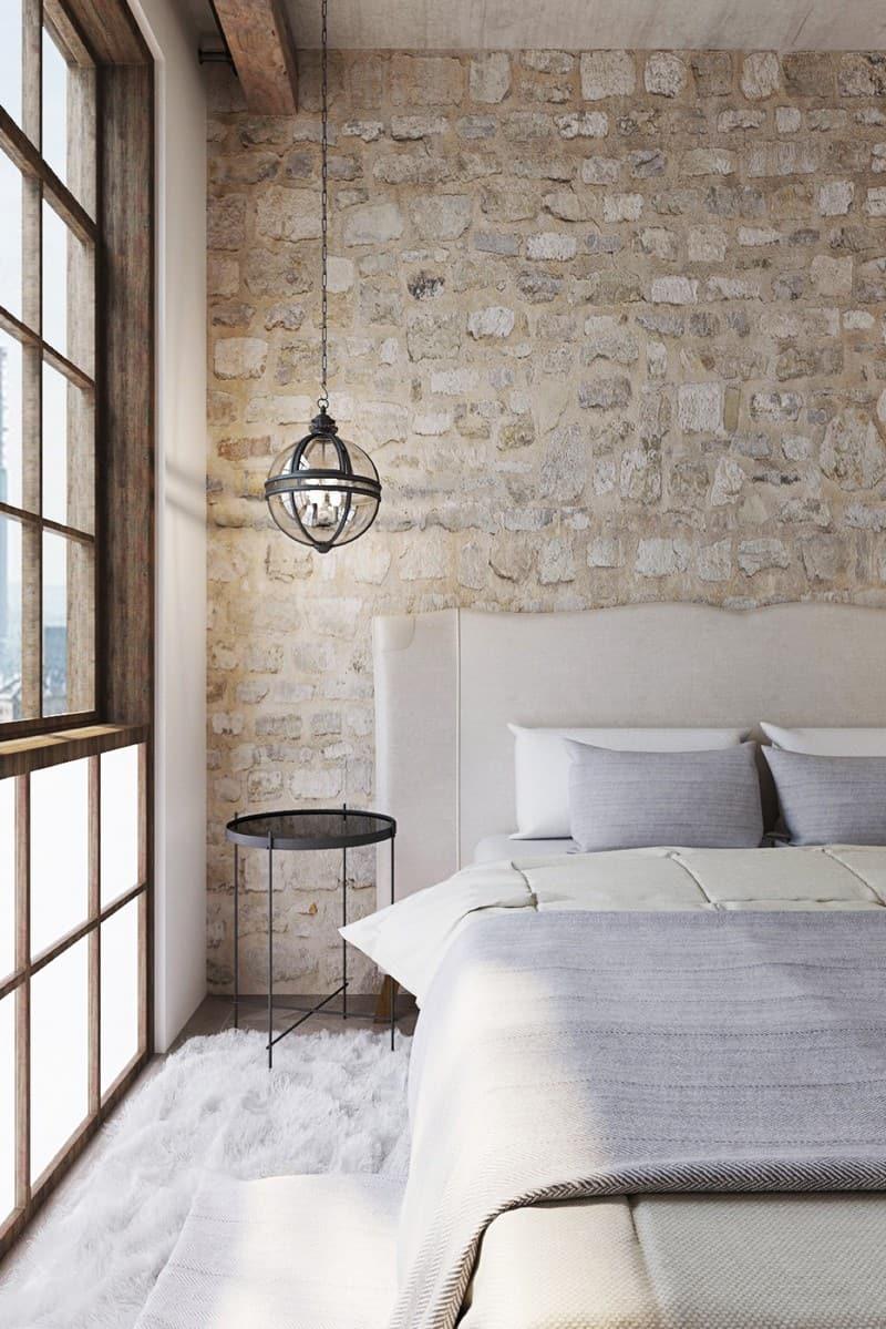 חדר שינה במרקם מחוספס