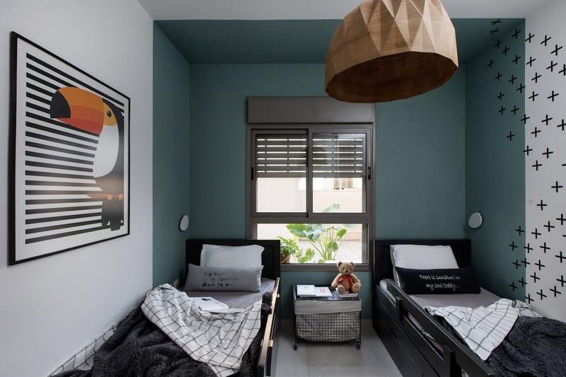 חדר שינה משותף ילדים קיר ירוק