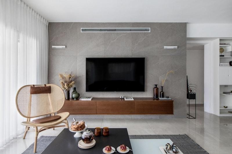 קיר טלוויזיה מזנון עץ