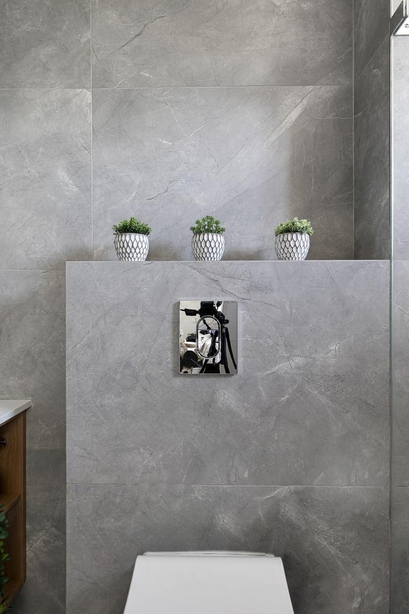 ארון אמבט חדר רחצה עץ לבן אפור